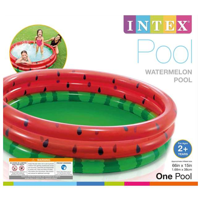 58448EP Intex 66-Inch Round Inflatable Outdoor Kids Swimming and Wading Watermelon Pool 1