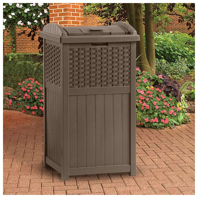 8 x GHW1732 Suncast Trash Hideaway 33 Gallon Resin Wicker Outdoor Garbage Container (8 Pack) 2