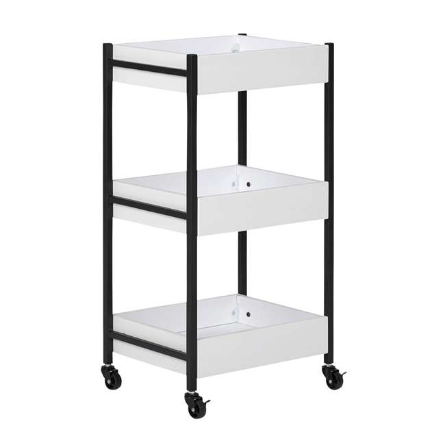 10225 Studio Designs Home 3 Bin Mobile Storage Organizing Cart with White Containers