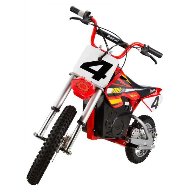 15128190 + 96785 + 97775 Razor MX500 Dirt Rocket Electric Moto Bike with Helmet, Elbow & Knee Pads 6