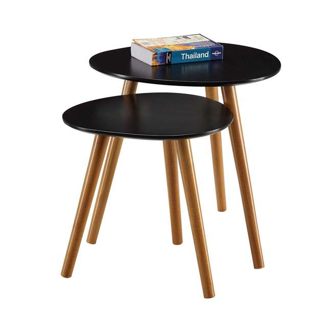 S20-156 Convenience Concepts S20-156 Oslo Modern Study Wood Nesting End Tables, Black 1