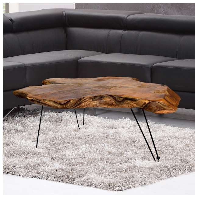 SC-IDW82658 Stylecraft Badang Carving Natural Teak Coffee Table 3