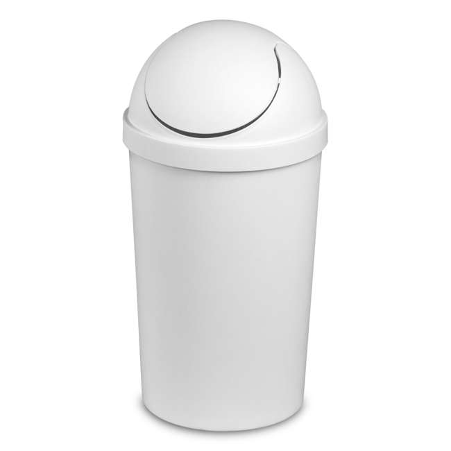12 x 10838006 Sterilite 3 Gallon Round Swing Top Plastic Wastebasket, White, 6 Pack (12 Pack) 1