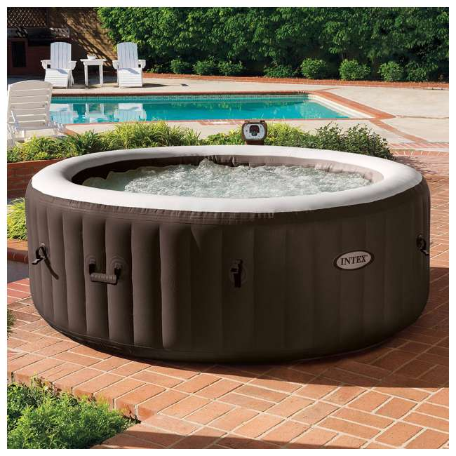 28403VM + 28523E + 28508E Intex PureSpa Bubble Massage 4 Person Inflatable Hot Tub w/ Cover & Bench Add On 2