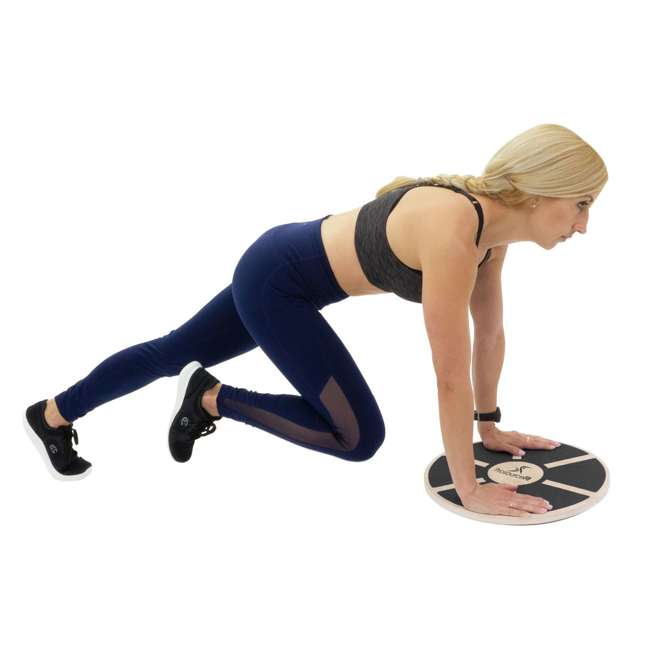 ps-1085-wbb-black Prosource Fit 1085 Round Wooden Gym Exercise Fitness Balance Wobble Board, Black 2
