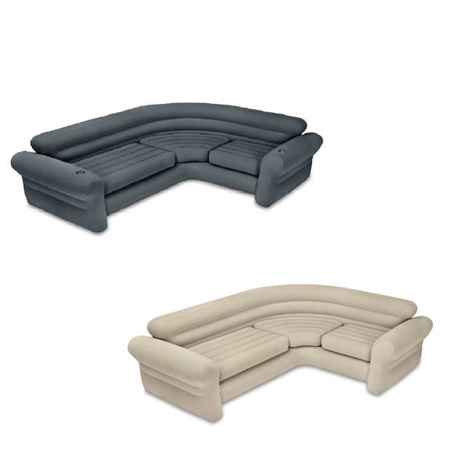 68575VM + 68575EP Intex Inflatable Couch Sectional, Gray & Intex Inflatable Couch Sectional, Beige