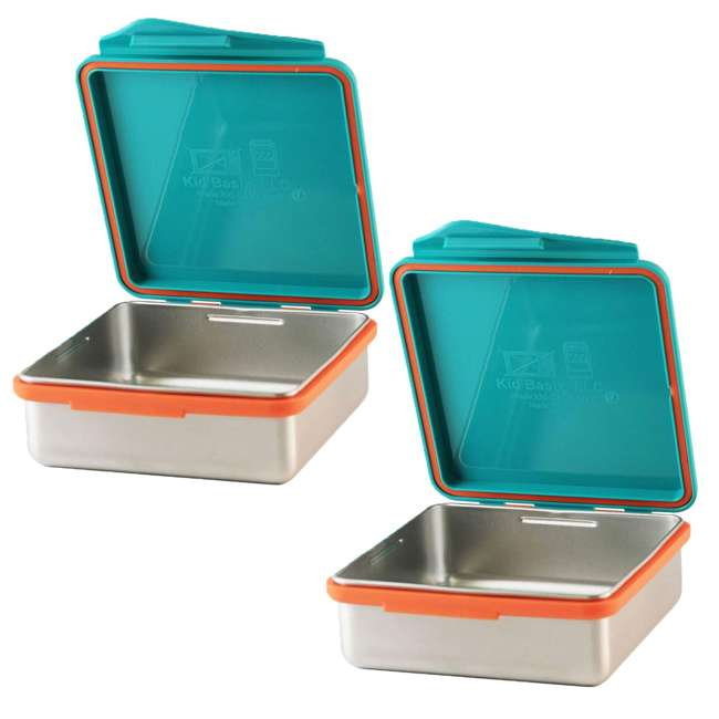 796515002867 Kid Basix Safe Snacker Kids 23 Ounce Stainless Steel Lunch Box, Teal (2 Pack)