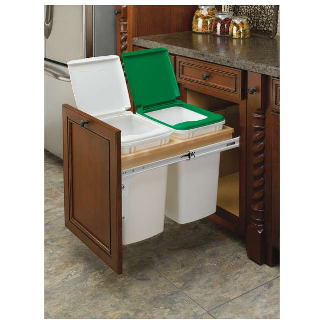 4WCTM-18DM2-25 Rev A Shelf 35 Quart Pull Out Sliding Double Waste Trash Container Bin, White 3