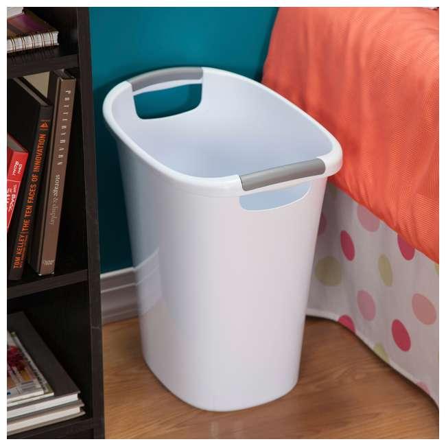 6 x 10638006 Sterilite 6 Gallon White Ultra Wastebasket Trash Can, 6 Pack  2