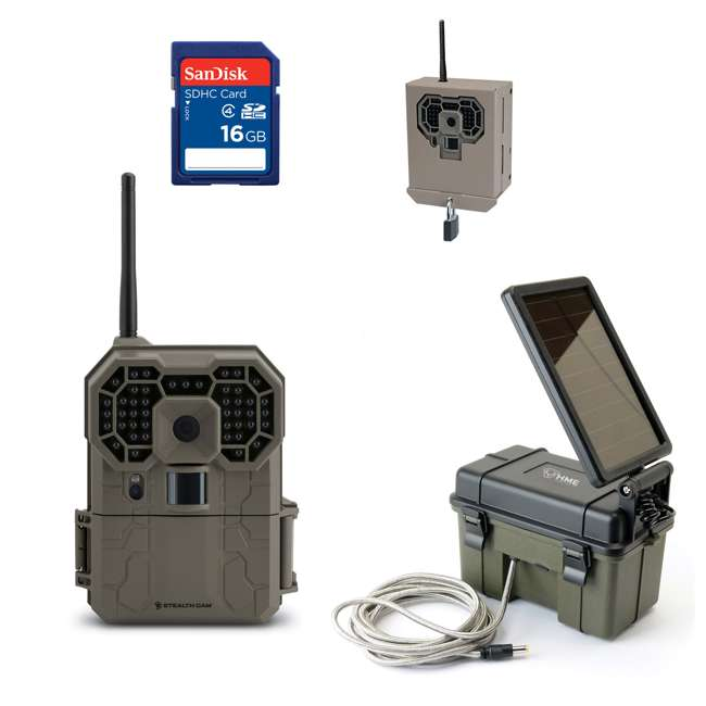 STC-GX45NGW + SD4-16GB-SAN + HME-12VBBSLR + STC-BB Stealth Cam GXW Game Camera & Memory Card & Battery & Bear-Proof Box