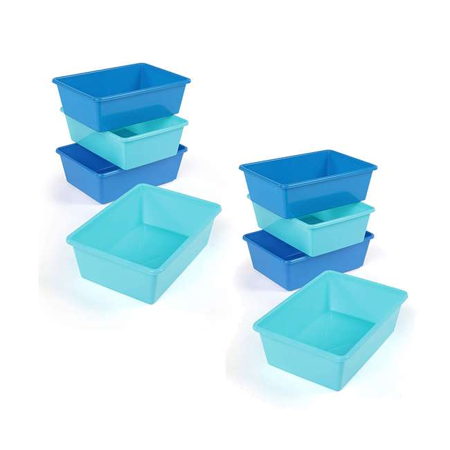 XL104 Tot Tutors XL104 Large Plastic Organization Bins, Blue/Teal (8 Pack)