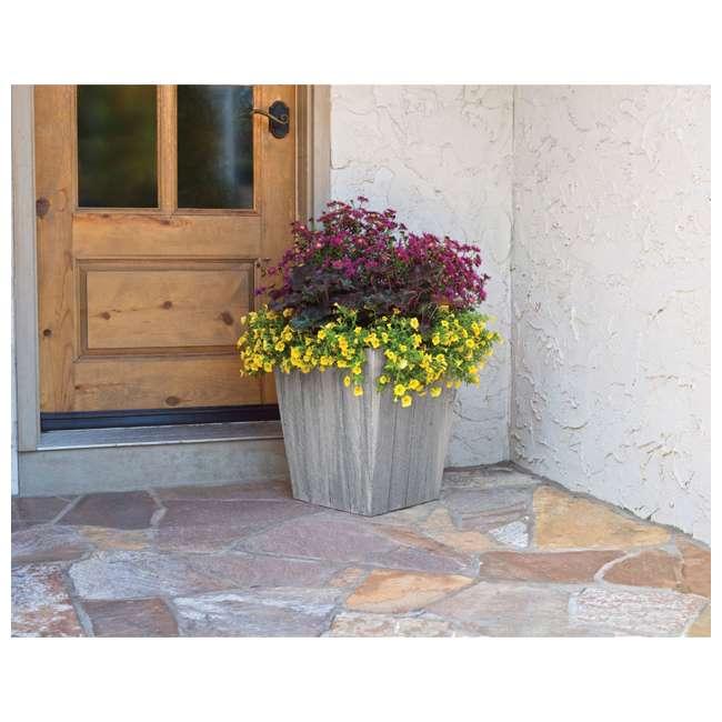 6 x 1619WP4 Suncast 16 Inch Farmington Decorative Rustic Wood Finish Garden Planter (6 Pack) 2