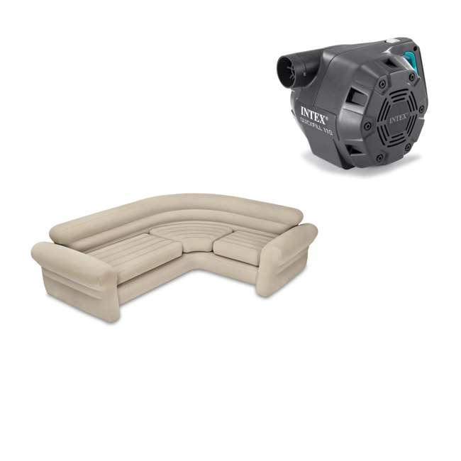 68575EP + 66643E Intex Inflatable Corner Sectional Sofa & Intex 120-Volt Corded Electric Air Pump