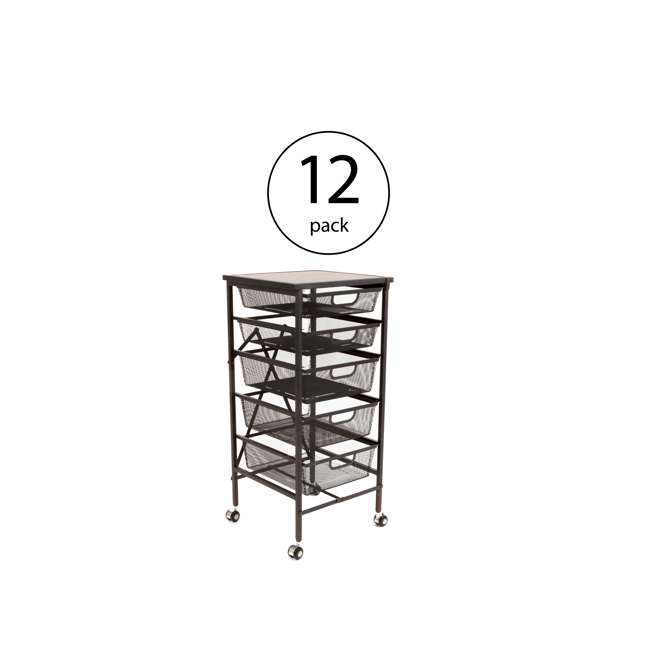 12 x DFS-05-BLACK Origami Wheeled Foldable 5-Drawer Storage Cart (12 Pack)