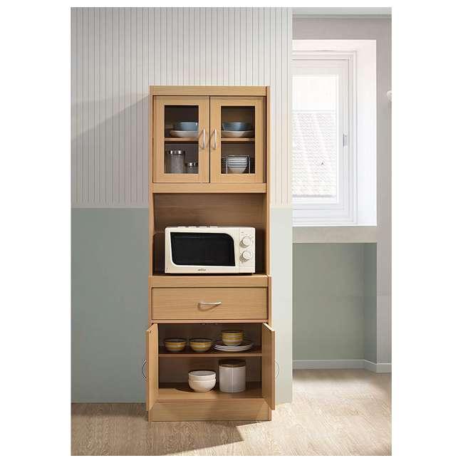 HIK96 BEECH Hodedah Freestanding Kitchen Storage Cabinet w/ Open Space for Microwave, Beech 3