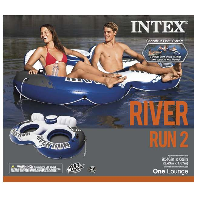 4 x 58827EP Intex River Run II 2-Person Water Tube w/ Cooler & Connectors (Open Box)(4 Pack) 1