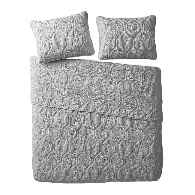 SHO-3QT-QUEN-IN-GV VCNY Home Shore Gray 3 Piece Reversible Bed Quilt and 2 Pillow Shams Set, Queen