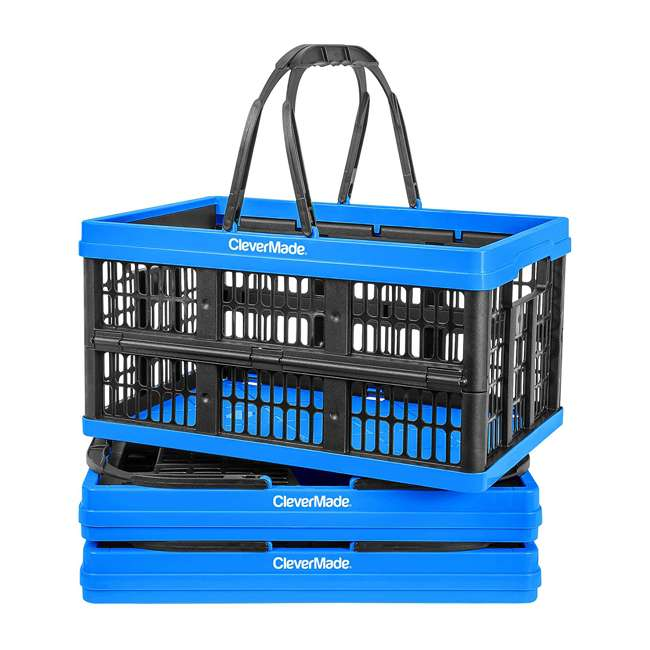 8031425-21843PK CleverMade CleverCrate 16L Collapsible Shopping Basket, Neptune Blue (3-Pack)