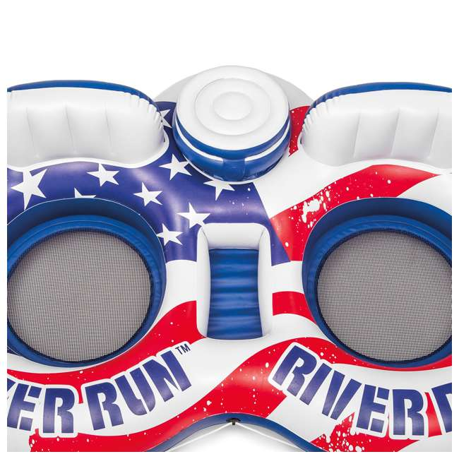 56855VM + 2 x 58854EP Intex American Flag 2 Person Float w/ River Run 1 Person Tube, Blue (2 Pack) 2