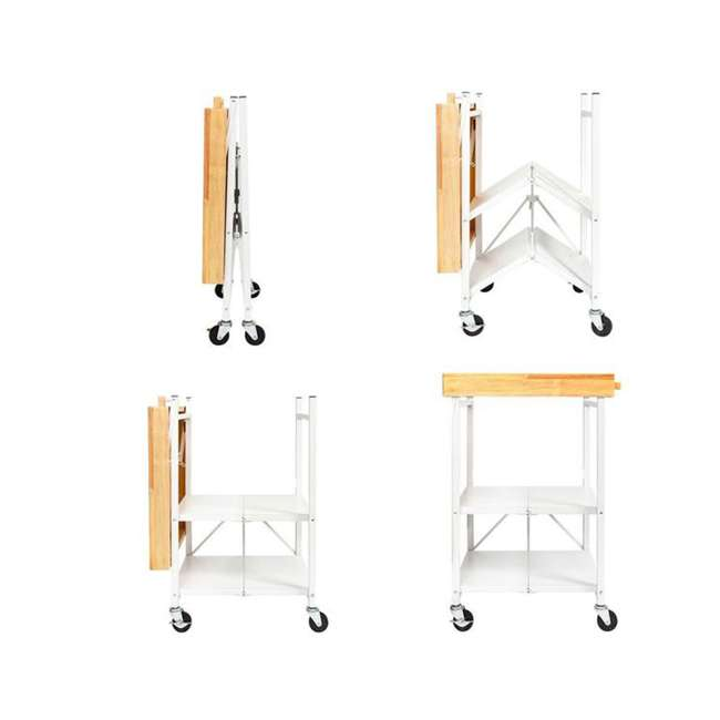 RBT-04 + R-KC-01 Origami Kitchen Island Bar Cart with Double Wine Rack 2