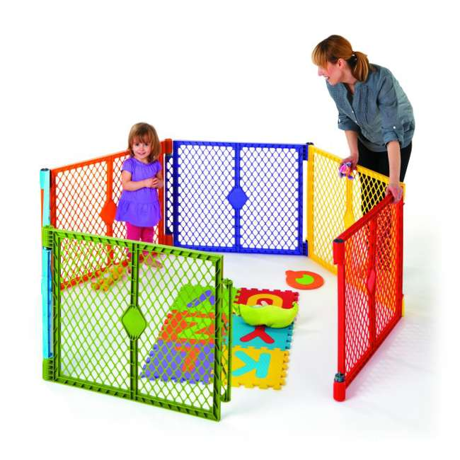 8769 + NS-8910 North States Color 6-Panel Superyard Baby/Pet Gate + Folding ABC Baby Play Mat 2