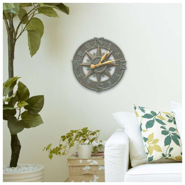 1297 Whitehall 1297 Compass Rose 16 Inch Indoor Outdoor Wall Clock, Bronze Verdigris 2