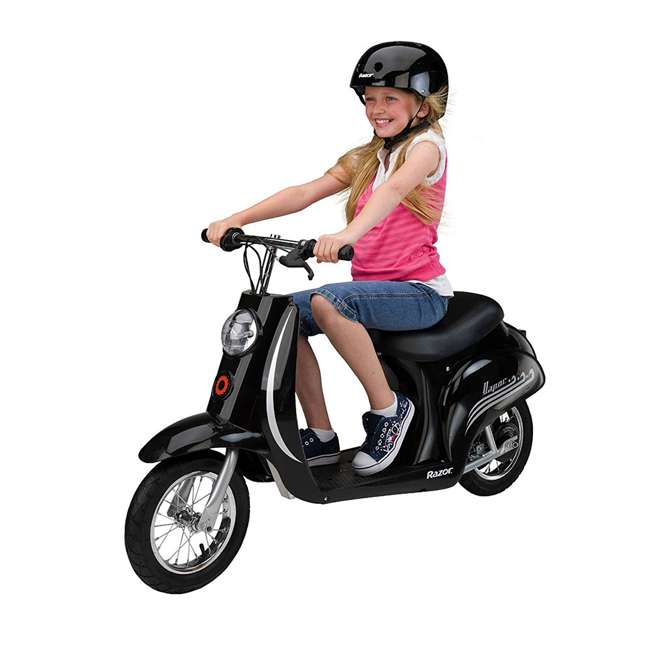 15130601 + 2 x 97778 Razor Pocket Mod Electric Retro Scooter, Black (2 Pack) + Helmets 4