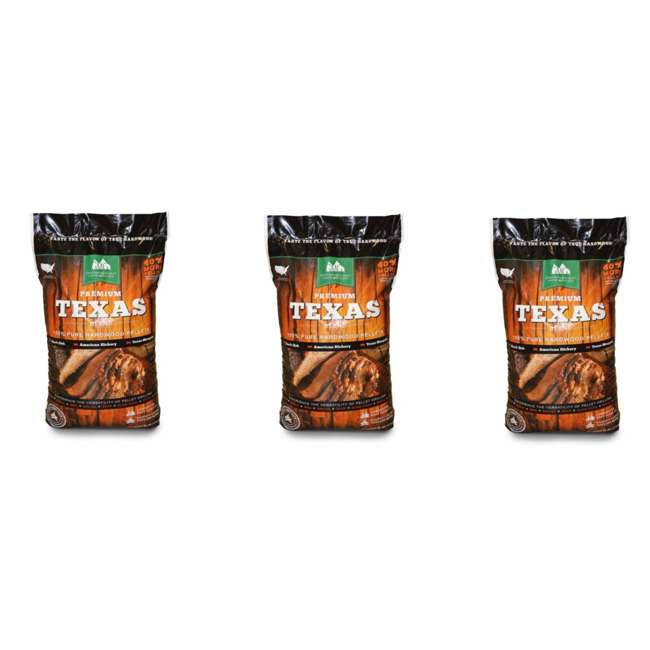 3 x GMG-2004-TEXAS Green Mountain Grills Premium Texas Pure Hardwood Outdoor Grilling Pellets (3)