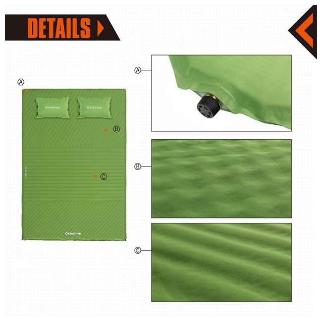 KM359460040000 KingCamp Double Self Inflating Camping Sleeping Pad Mat with 2 Pillows, Green 1