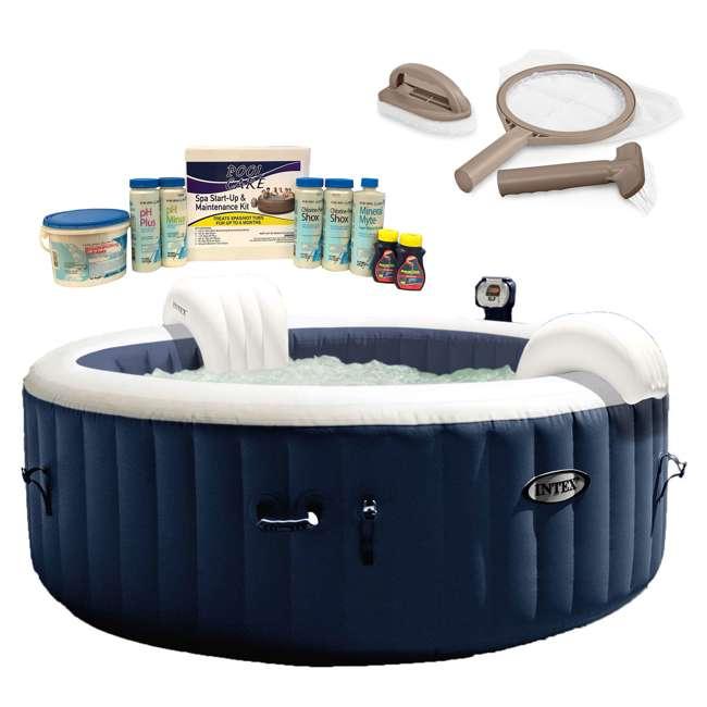 28405E + 28004E + QLC-14895 Intex Pure Spa Inflatable Hot Tub,  Maintenance Kit, & Chemical Kit