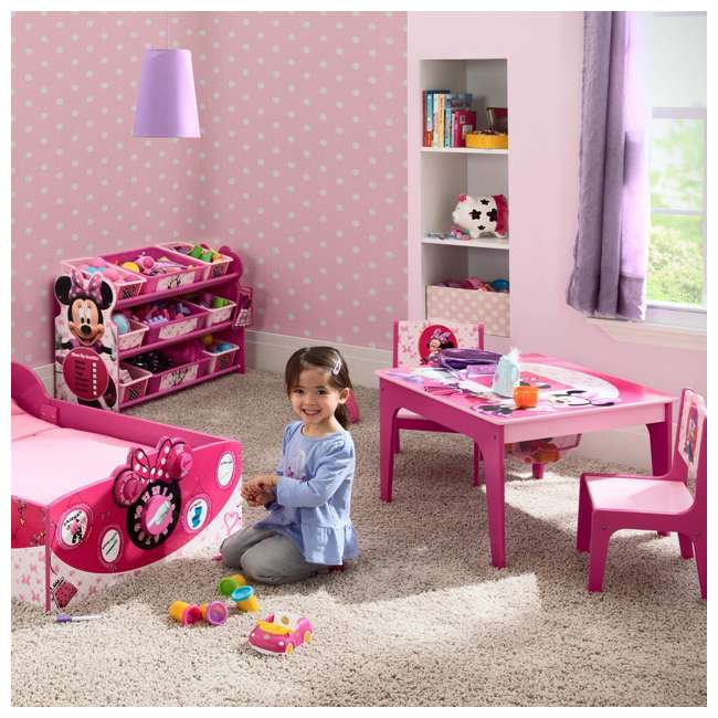 TT89500MN-1061 Delta Children Disney Minnie Mouse Deluxe Storage Table & Chairs 2