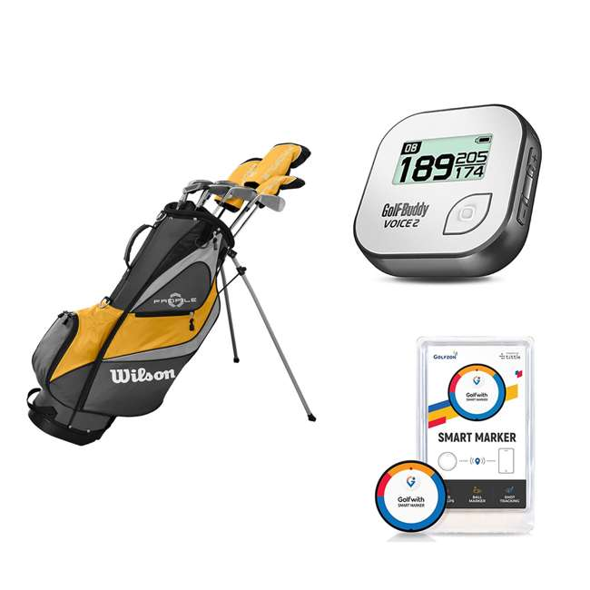 WGGC4370L + GB7-VOICE2-GREY + PGSMGps Wilson Men's Golf Club Set + Golf Buddy GPS Range Finder + Golfwith Smart Marker
