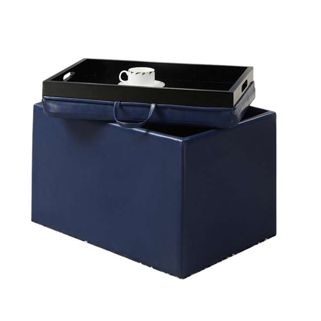R8-117 Convenience Concepts Designs4Comfort Accent Storage Ottoman - Blue (Open Box) 2