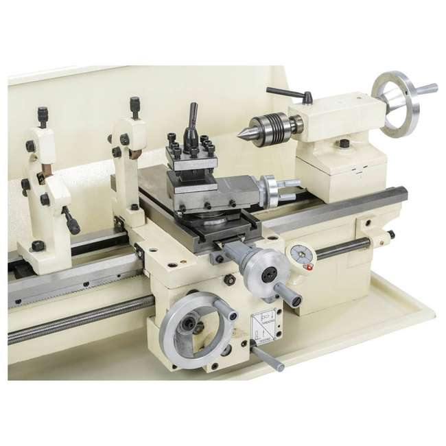 M1049 Shop Fox M1049 9 by 19 Inch Bench Top Metal Lathe with Three Jaw Scroll Chuck 1
