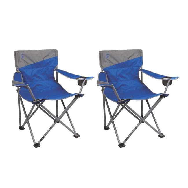 2 Coleman Folding Big N Tall Oversized Quad Chairs Blue