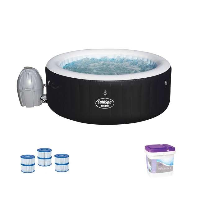 54124E-BW + 3 x 90352E-BW + 45522A Bestway SaluSpa Hot Tub w/ Spa Support Kit & Filter Cartridges