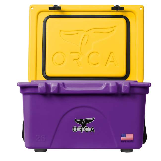 ORCPU/G0026 Orca ORCPU/G0026 Roto Molded 26 Quart 24 Can Insulated Ice Cooler, Purple/Gold 3
