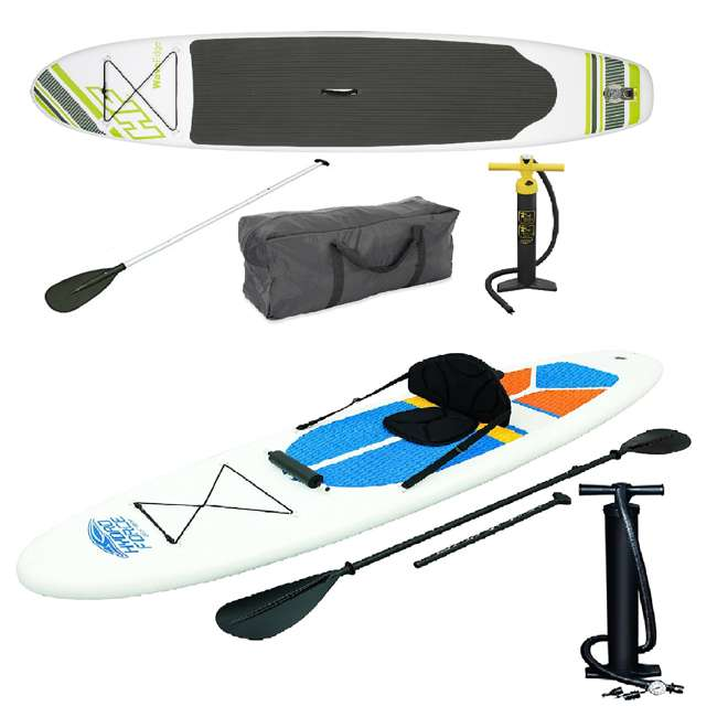 15477-BW + 65069-BW Bestway Inflatable Hydro Force Wave Edge Stand Up Paddle Board (Grean, White)