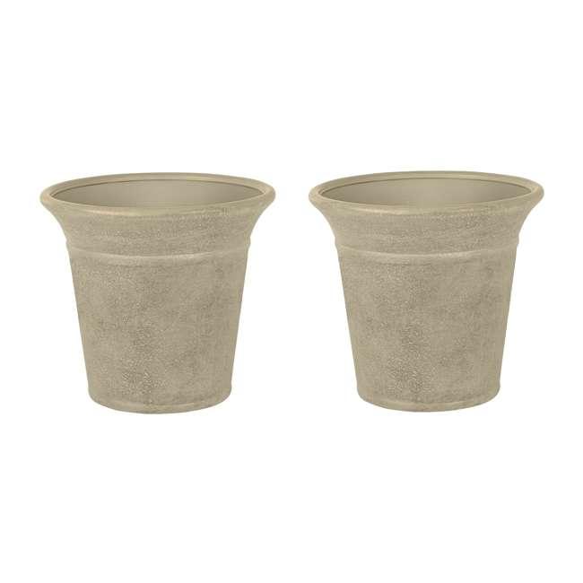 1613S2-2PK-U-A Suncast Langston 16 Inch Round Flower Pot Planters, Vanilla (2 Pack) (Open Box)