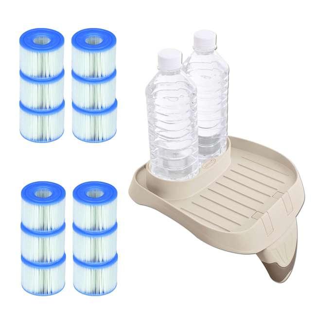 28500E + 6 x 29001E Intex PureSpa Cup Holder + Refreshment Tray w/ 12 S1 Pool Filters