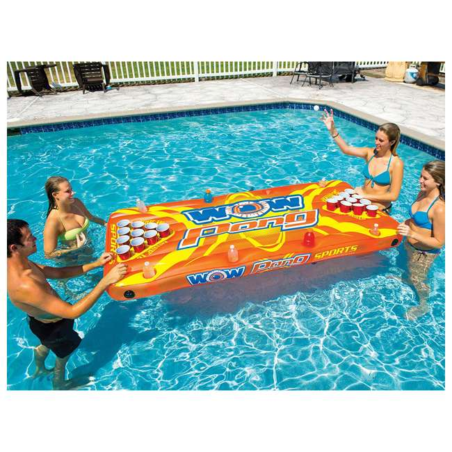 """15-2020 WOW Watersports Durable 16"""" Inflatable Pool Floating Water Pong Table Game, Red 2"""