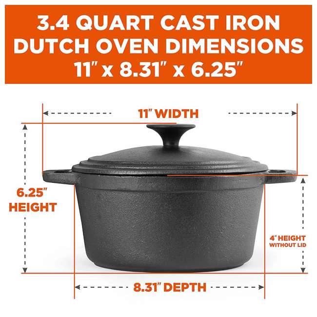 CHCI340 Commercial Chef  3.4-Quart Cast Iron Dutch Oven, Black 1