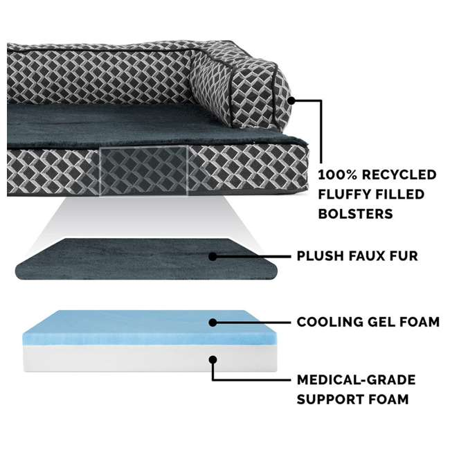 86536257BX Furhaven Cooling Gel Memory Foam Plush Comfy Couch Dog Bed, Diamond Gray, Jumbo 3