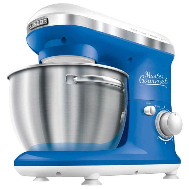 STM3620WH-NAA1 Sencor STM 3620WH 4.2-Quart 6-Speed Food Mixer with Stainless Steel Bowl, Blue 1