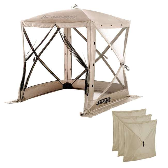 CLAM-TV-114243 + CLAM-WP-114245 Clam Quick-Set Traveler Shelter w/Wind Panels (3 Pack), Tan