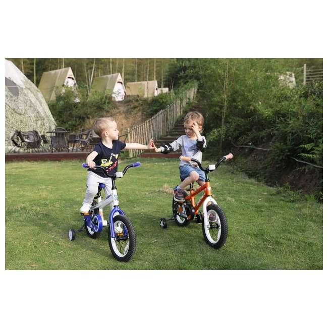 BIKE029wh-16 JOYSTAR Whizz Series 16-Inch Ride On Kids Bike w/ Training Wheels, White & Blue 4