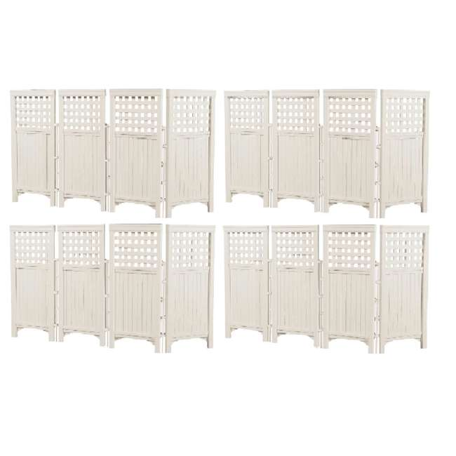 4 x FS4423T Suncast Outdoor Steel and Resin 4 Panel Screen Yard Enclosure, Taupe (4 Pack)