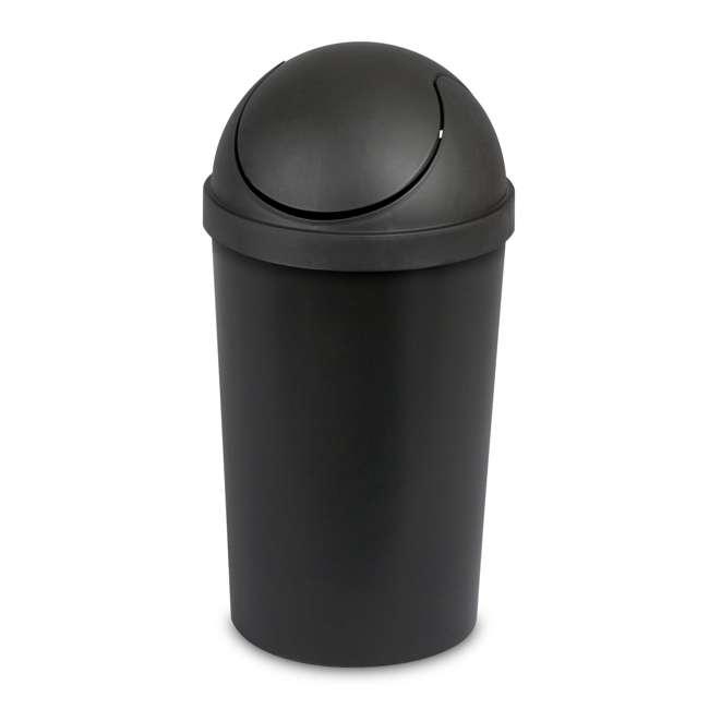 6 x 10839006-U-A Sterilite 3 Gallon Round Swing Top Plastic Wastebasket, Black (Open Box)(6 Pack) 1