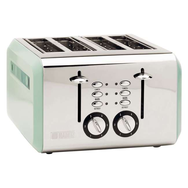 75009 Haden Cotswold 4-Slice Wide Slot Stainless Steel Body Retro Toaster, Sage Green
