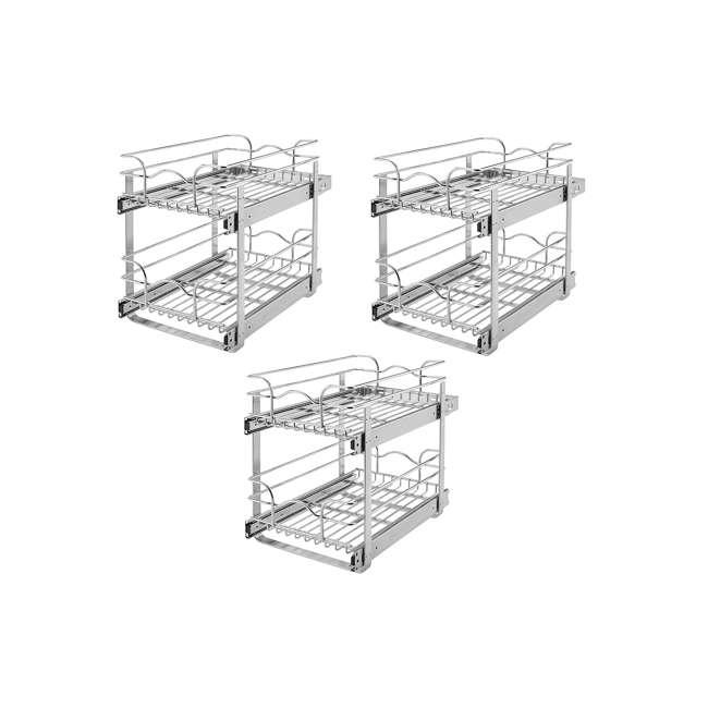 3 x 5WB2-1822-CR Rev-A-Shelf 18 Inch Pull Out 2 Tier Wire Baskets, Plated Chrome (3 Pack)